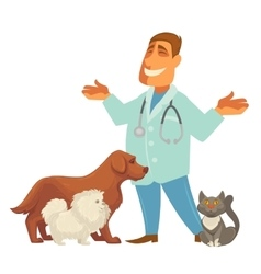 a veterinarian with cute vector image vector image