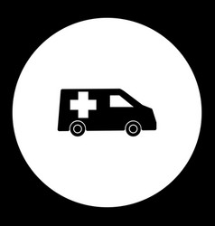 Ambulance car transport simple black and green vector