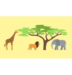 Baobab tree and wild animals isolated on white vector