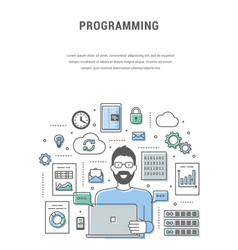 bicolour blue green banner programmer who creates vector image