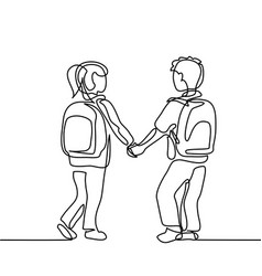 Boy and girl going back to school with bags vector