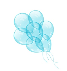 Bunch blue balloons isolated on white background vector