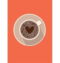 Coffee cup icon with heart in vector image vector image