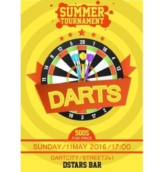 Colorful poster template for darts vector image
