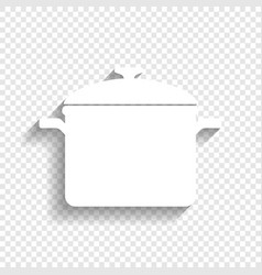 Cooking pan sign white icon with soft vector