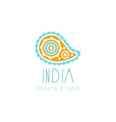 Creative yoga floral paisley logo abstract vector