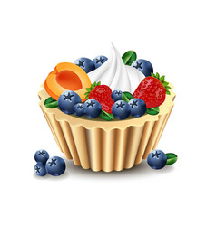 delicious cupcake with realistic fruits vector image vector image