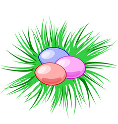 Eggs in a nest easter christian symbol vector