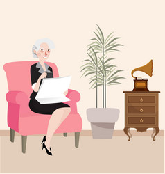 grandma reading newspaper sitting in sofa while vector image vector image