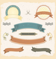 Grunge banners and ribbons set vector