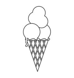 Ice cream cone sweet delicious thin line vector