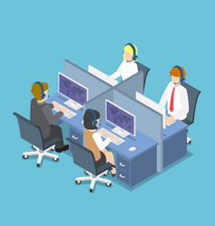 Isometric business people working with headset in vector