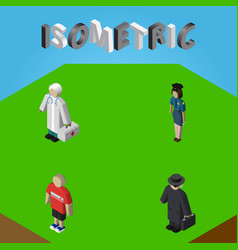 Isometric people set of detective policewoman vector