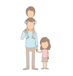 Light color caricature faceless dad with boy on vector