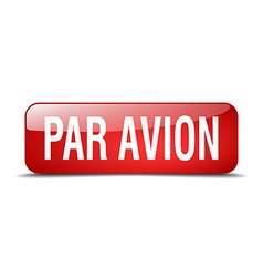 Par avion red square 3d realistic isolated web vector