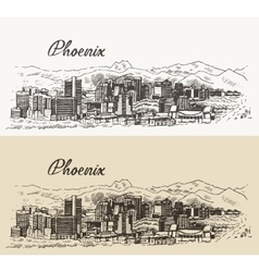 Phoenix skyline hand drawn vector