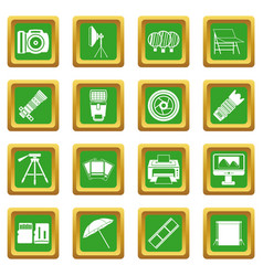 Photo studio icons set green vector
