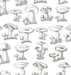 Seamless pattern with mushrooms on a white vector