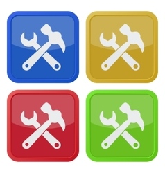 set of four square icons claw hammer with spanner vector image vector image