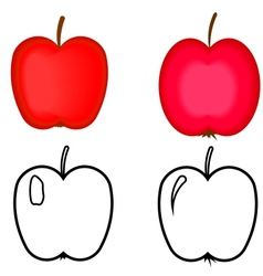 Set of red apples Apples for coloring book vector image