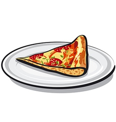 slice of salami pizza vector image