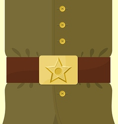 Soldiers retro clothing strap and buckle with star vector