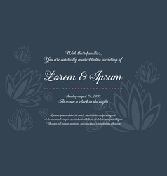 Style invitation with flower for wedding vector