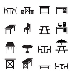 table icons set vector image