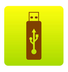Usb flash drive sign brown icon at vector