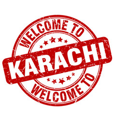Welcome to karachi red round vintage stamp vector
