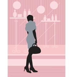 Woman near the showcase vector image