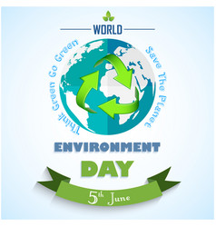 world environment day background with green arrows vector image vector image