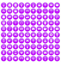 100 hotel icons set purple vector