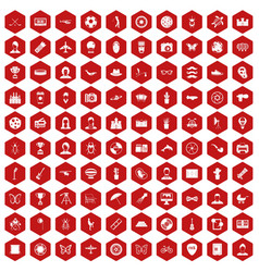 100 photo icons hexagon red vector