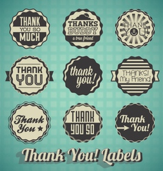Retro Style Thank You Labels and Icons vector image