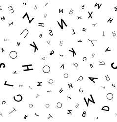 black letter seamless pattern on white background vector image