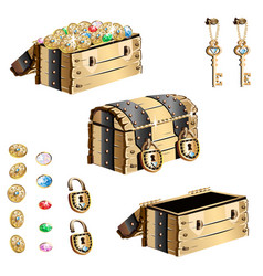Old treasure chest vector