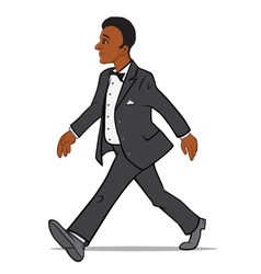 Black man in a tuxedo walking vector