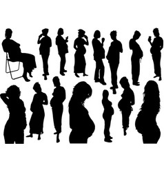 15 silhouettes of pregnant woman vector image