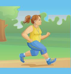 Overweight girl is jogging vector
