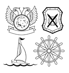 Set of nautical design elements vector image