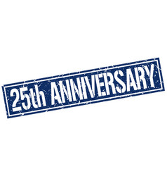 25th anniversary square grunge stamp vector