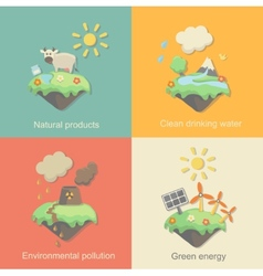 Ecology concept icons set for environment green vector