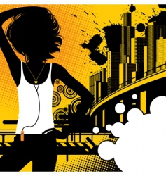 Girl on a city background vector