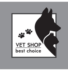 Silhouettes of a cat and dog on the poster vector