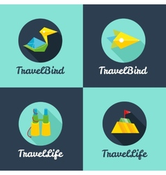 Flat travel agency logo templates set vector