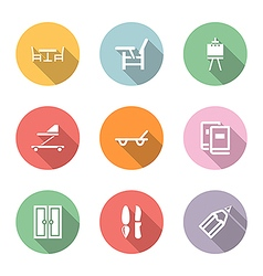 Home stuff icon set color with shadow vector