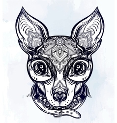Vintage style dog portrait and collar vector