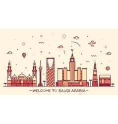 Skyline Saudi Arabia silhouette linear style vector image