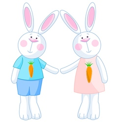 Cute bunnies vector
